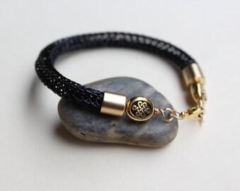 Celtic Black Viking Knit Bracelet