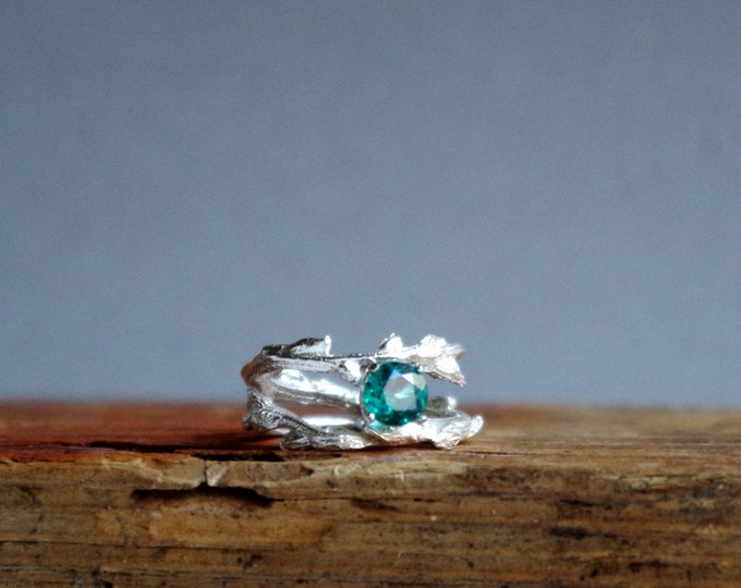 Alternative Engagement Ring Green Topaz Double Twisted Branch Jewelry Elvish Twig Ring Jewelry Botanical Jewelry
