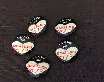 """Vintage """"I love the Beatles"""" pin/button 1964 Seltaeb Green Duck Chicago"""