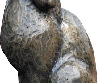 Cat Sitting sculpture Beautiful handpainted bronze finish