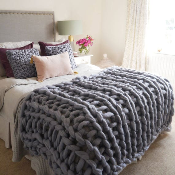 97d67187d4 Well-known Grey chunky knit blanket giant knit blanket chunky knit YK23