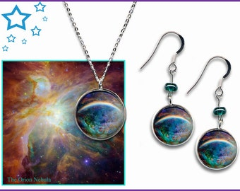 Orion Nebula Earrings and Pendant Gift Set with descriptive photo card.