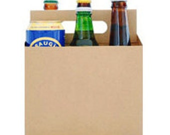 6 Pack Beer Bottle & Can Holder, Beer Holder, Beer Box, Six Pack Holder, Beer Holder, Beer Cardboard, 6 Pack Box (Kraft Color)