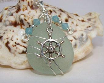 Sterling Silver Ship's Wheel Necklace - Nautical Pendant - Seafoam Sea Glass - Pilot's Wheel