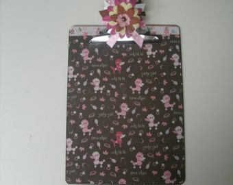 Girly Pink POODLES Altered Clipboard