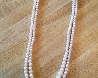 Vintage Faux Pearl Double Strand Necklace Shell Clasp