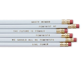 Pencil Set - Feminist Assorted White Pencils / Office Supplies