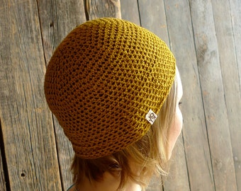 Linen Hat, Crochet Beanie - Mustard / Amber Yellow - Minimal Unisex Spring, Summer Hat Beach Fashion Accessories