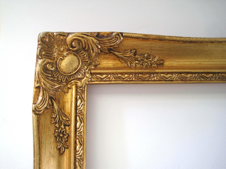 Gran marco de madera de oro, Vintage estilo barroco francés, 22 x 18 ...