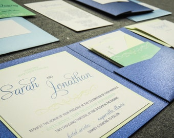 "Blue and Green Wedding Invitations, Whimsical Script Invitations, Sapphire and Mint Green - ""Enchanting Vintage"" PF-1L-v2 SAMPLE"