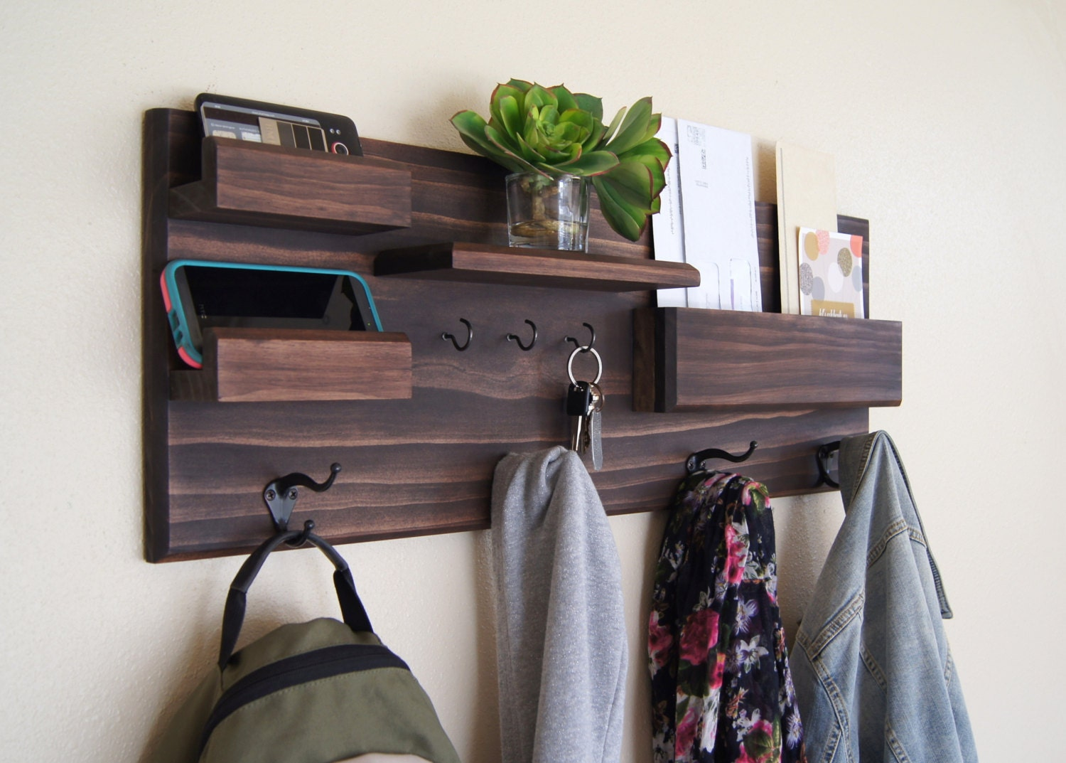 Entryway organizer wall mounted floating shelf mail storage Wall mount entryway organizer mirror hallway coat rack key cabinet