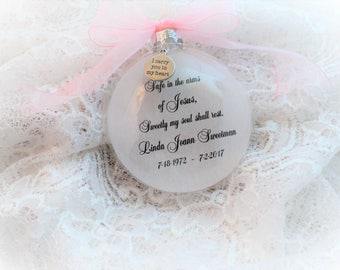 In Memory Christmas Ornament, Safe in the Arms of Jesus, Free Personalization and Charm