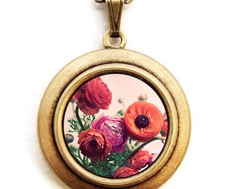 Photo Locket - Bouquet Ranunculus - Pink and Coral Flower Ranunculus Photo Locket Necklace