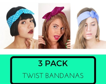3 Pack Bandanas, Twist Tie Hairbands, No Slip Headband, Do Rag Bandana, Cotton Print Hairband, Cute Hair Accessories // Choose your set of 3