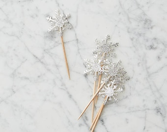 Snowflake Cake or Cupcake Topper, Silver, Set of 12