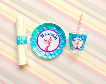 """American Food 18"""" Girl Doll Mermaid Plate Cup Napkin Mini Mermaid Accessory for AG Summer picnic beach party paper goods Mermaid Scale Plate"""