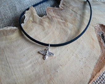 """Black faux suede cord choker with a Tibetan silver bee charm - 12-15"""" - boho / festival / summer / insects / bees / bumble bee"""