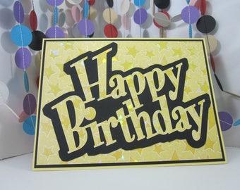 Shiny Stars Happy Birthday Card - yellow black