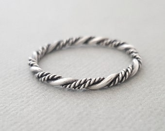 Triple Twist Ring oxidized sterling silver ring stacking ring gifts for her mum girlfriend sister best friend