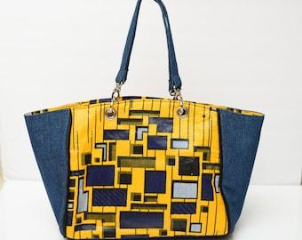 Denim and yellow tote bag