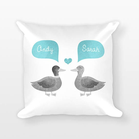 DUCK Pillow, Animal Couple Pillow, Personalized Pillow Decor, Anniversary Gift for Girlfriend, Gift for Her, Gift for Parents, Throw Pillow