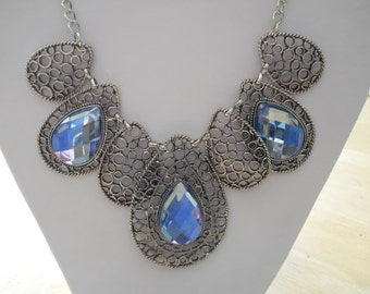 Bib Necklace with Silver Tone and Blue Crystal Pendants on a Silver Chain