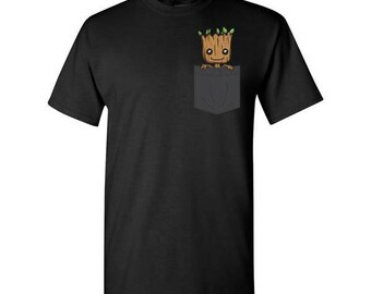 Cute Baby Groot Pocket Tee