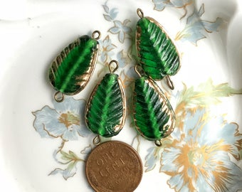 4 Glass Leaf Connectors, emerald Leaves, Gold dipped Leaves, Vintage Supplies, Vintage Glass on Wire, Jewelry design, Minimalist #135D