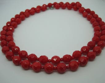 Vintage from the 1970's Beautiful red lipstick faceted glass beads necklace.