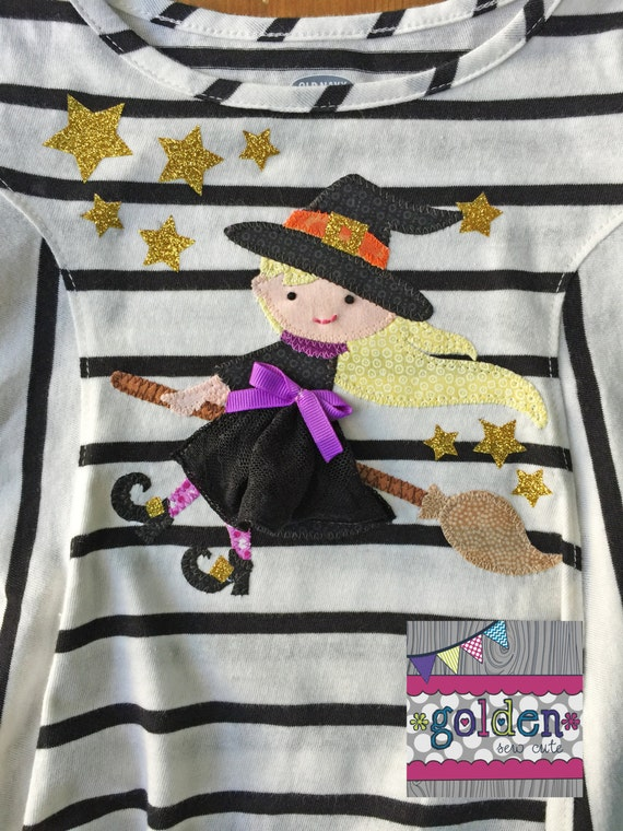 Halloween Cute Spooky Witch on Broomstick Girl Tee, Shirt, Onesie, Dress