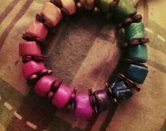 Rainbow handmade beaded child bracelet