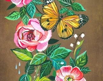 Aphrodite | Wildflower Art Print | Floral Wall Art | Katie Daisy | 8x10 | 11x14