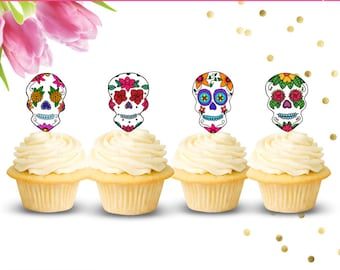 Day of the Dead Cupcake Toppers (Set of 12), Sugar Skull Cupcake Toppers, Dia De Los Muertos, Flower Skull Cupcake Toppers, Mexican Holiday