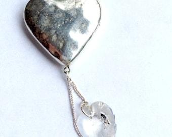 Metal Heart Necklace, Large Swarovski Heart Necklace, Bridal Necklace, Swarovski Jewelry
