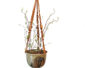 Vintage Studio Pottery Planter with Macrame Hanger