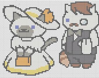 Jeeves & Sapphire Neko Atsume Cross Stitch Pattern Easy Tiny Patterns