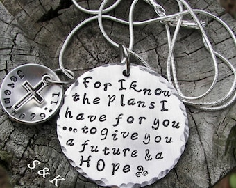 Hand stamped jewelry, personalized jewelry, For I know the Plans I have for you, Custom jewelry, religious necklace, Jeremiah 29:11