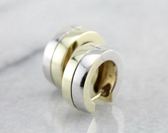 Modernist Two Tone Gold Hoop Earrings YPJRQW-R