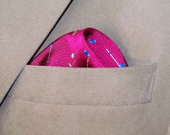 Silk Pocket Square, Hot Pink Golfers, Wedding Party Accessory, Hand stitched Silk Pocket Square