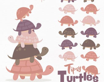 Professional Turtle Stack Clipart in Buff - Turtle Clipart, Turtle Vectors, Buff Turtles