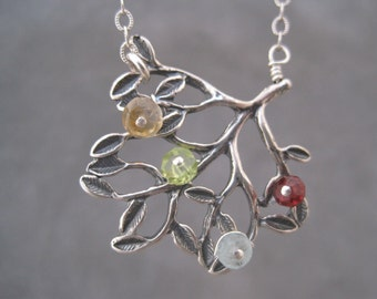 Family Tree Necklace - Blooming with Love- Branch Jewelry - Family Jewelry - Personalized - Birthstones-  Semi Precious Stones  -Memorial