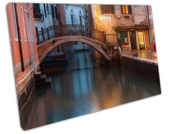 Street Canal in the city of Venice Italy Old Town Art Ready to Hang Canvas X1636