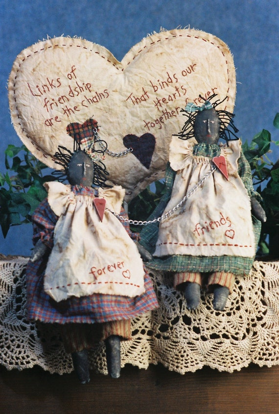 Chained Hearts - Mailed Cloth Doll Pattern - Primitive Friendship Friend Doll