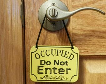 OCCUPIED Do Not ENTER Sign Door Knob Sign Door Hanging Sign - Free Shipping
