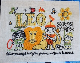 1960s Hand Embroidered LEO Astrology Wall Hanging