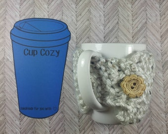 Cream Tweed Mug Cozy- Cream Tweed Coffee Cup Cozy- Knitted Coffee Cup Cozy