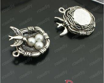 5 charms antique silver 24 * 24MM E26751 nest