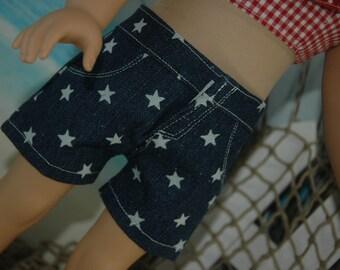 American, Made, boy, girl, doll, star print, denim, doll, shorts, 18 inch, doll clothes