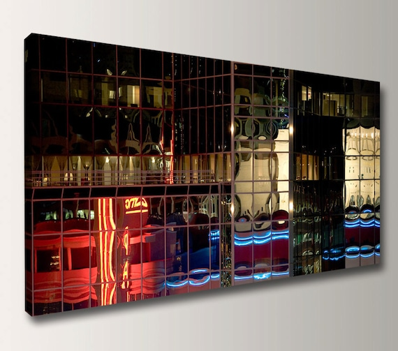"Panoramic Art Canvas Panorama Urban Photography Canvas Print Modern Wall Decor "" After Hours """