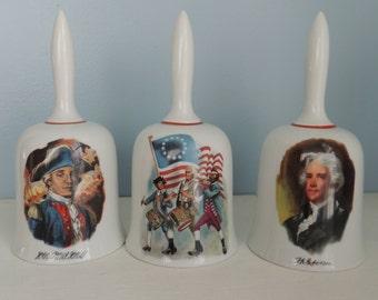 The Danbury Mint Bells, Limited Edition American Bicentennial Bells,Set of 3,John Paul Jones,Thomas Jefferson,Spirit of '76,Collectible Bell